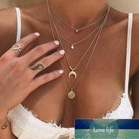 Boho Multi-element Necklaces For Women Neck chains Fashion Gold Drop Necklace Vintage Multiple Layers Pendant Necklace Jewelry Factory price expert design Quality