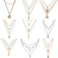 17km Multilayer Crystal Luna Collares Colgantes para Mujeres Vintage Charm Oro Gargantilla Collar Joyería Bohemia