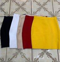 Wholesale Candy Color Sexy Women Bodycon Mini Bandage Designer Fashion Black Pencil Skirt Faldas 43cm