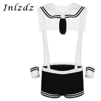 Bras Sets 3Pcs Mens Sailor Fancy Cosplay Costume Underwear Set For Sex Elastic Suspenders Boxer Briefs With Collar And Cuffs Lingerie Suit