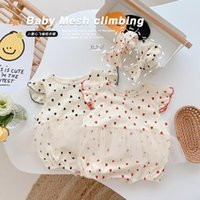 Jumpsuits Born Baby Girls Sleeve Love Mesh Outwear Toddler Kids Infant Casual Bodysuits Headbands 2pcs 0-24M