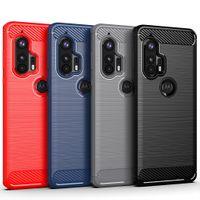 Escudo robusto à prova de choque SOT TPU escovado de fibra de carbono casos de telefone celular para Motorola Edge g 5g mais Rápido E6S G8 Power Lite um Fusion +
