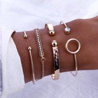 Link, Chain 4 Piece Set   Fashion Round Irregular Crystal Bracelet Women'S Personality Party Bohemian Jewelry Gift