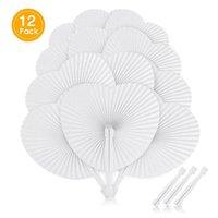 Party Favore 12 Accessori da sposa Bianco Amore Ventilatore di carta vuoto a forma di cuore rotondo pieghevole