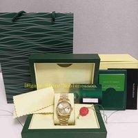 원래 상자가있는 2 스타일 중소형 시계 남자 날짜 118238 옐로우 골드 36mm 샴페인 다이아몬드 다이얼 대통령 팔찌 여성 자동 시계