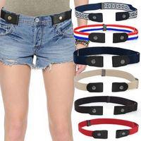 Belts Unisex Buckle-Free Elastic Belt For Jeans Pants Dress Stretch Waist Adult Women Men No Buckle Without Free