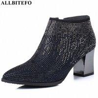 Allbitefo Natürliche Echtes Leder Frauen Stiefel Wasser Bohrer Dekoration Bequeme Knöchelstiefel Herbst Winter Mode S3cr #