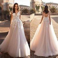 2021 изящное V-образное вырезовое пляжное свадебное платья без спинки 3d цветочные аппликации кружева свадебные платья тюль Vestido de novia plus размер