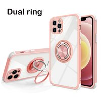 Dual Ring Case for iPhone 13 Pro Max 12 11 XS XR 6 7 8 Plus S21 Ultra Shockproof Bumper Armor Kickstand Protector Cover