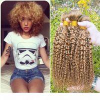 Cabelo peruano colorido 3 pacotes Kinky Curly barato 27 # Honey loira extensões de cabelo brasileiro peruano malaysian virgem cabelo humano tece