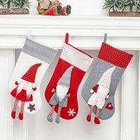 Christmas Decorations Plush Candy Bag Stockings Santa Claus Doll Socks For Home Xmas Tree Fireplace Hanging Ornaments