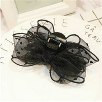 South Korea New Lace Wave Dot Mesh Bow Large Grip Female Claw Horsetail Curling Clip Head Hair Accessories