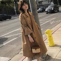 Drop shipping Korean Style Ladies Turn-down Collar Trench Coats Flare Sleeves Women Long Loose Female Windbreaker Outerwear N8gN#