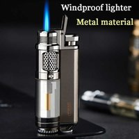 Turbo Lighter Gadgets For Men Torch Lighters Creative Windproof Cool Refillable Gas Butane Jet Lighter Smoking Accessories 210724