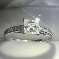 Vecalon Fashion Jewelry Women ring Princess cut 2ct diamond Cz 925 Sterling Silver Female Engagement wedding Band ring