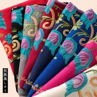 2021 spring and autumn new pure color embroidery imitation cashmere thick scarf women's air conditioning shawl embroidered tassel warm Bib