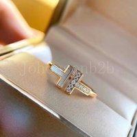 Mode Silber Gold Überzogene Aussage Schnappsteine T Typ Liebe Ring Luxus Schmuck Für Männer Frauen Liebhaber mit Original Box T0001