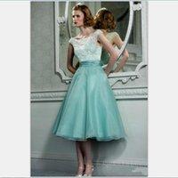 Robes de fête menthe green organza dentelle rétro courte courtre de promane 1950 hepburn style thé thé longueur robe robe robe robe pochette