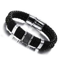 Homens de couro de couro de aço inoxidável marca de luxo preto retro punk punk pulseira mens pulseira pulseira hip hop rodada