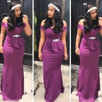 Purple Bridesmaid Dresses Mermaid Off the Shoulder Straps Satin Plus Size 2022 Beaded Peplum Custom Made African Maid of Honor Gown Country Wedding Party vestido