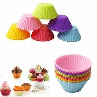 3Inch Silikon Cupcake-Liner Form Muffin-Hüllen Runde Form Tasse Kuchenform SGS Kuchen Backen Pfannen Backformen Gebäckwerkzeuge 8 Farben OWD8622