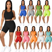 Womens Two Piece Tracksuits Plaid Pattern Sleeveless Tanks Tops Sexy Shorts Summer Casual Women Jogger Yoga Fitness Suits
