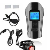 Bike Lights USB Rechargeable Front Light Cycle Headlight With Bicycle LED Speedometer Odometer Cycling Speed Meter LCD Screen