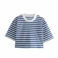 Casual Dresses Women O Neck High Waist T-shirt 2021 Summer Fashion Ladies Street Female Striped Short Top 985E