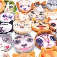 Karikatür Sevimli Kedi Köpek Kafası Baskı Sikke Çanta Çantalar Çocuklar 3D Hayvan Cüzdan Çanta Kadife Miyav Yıldız Fermuar Kart Tutucu Yuvası Anahtar Çanta Kozmetik Ruj Torbaları G93BW3L