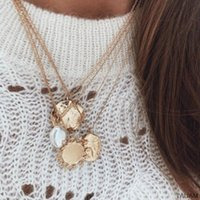 Pendant Necklaces Punk Multi Layered Pearl Choker Necklace Collar Statement Sun Irregular Coin Crystal Women Jewelry 2021