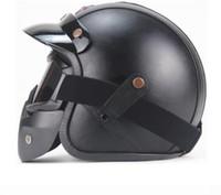 Livraison Gratuite Casques en cuir PU 3/4 Chopper moto Casque de vélo de vélo ouvert visage Vintage moto Helmet1