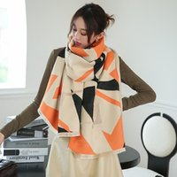 Scarves Color Matching Bandanna Winter Cashmere Thick Shawls Autumn 190X65CM Dustproof Beach Towel Two-Sided Tassels