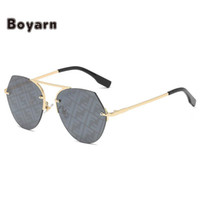 Boyarn 2021 Новые FF Солнцезащитные очки Мода Trend Солнцезащитные очки для мужчин и женщин, Личность Круглый Рамка Простой дизайн, Универсальное стекло