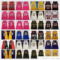 Retro Mitchell und Ness Frauen Kleid Basketball-Trikots Nähte 3 Allen Dwyane Iverson Wade Stephen 30 Curry Jersey 2021 Rosa Schwarz Weiß Gelb Rot Größe S-XL