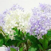 Flone 3 Köpfe Künstliche lila Blumen Simulation Kirschblumenstrauß Gefälschte Seidenblume Hochzeit Home Party Dekor Floral Anordnung BWD5380