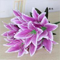 40cm Rainbow Rayon Grande buquê de lírios Buquê artificial jóias flores diy casamento flor de casamento na noiva de mão decoração 2145 v2
