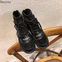 Chaussettes de personnalité Chaussures Femelle 2020 Automne Nouveau Net Rouge Fashion Plat Fond Élastique Knit Sauvage Chaussures Casual Marée Sport Sport Skechers SH 903F #