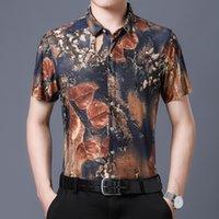 Neue hawaiianische stil lässig 80% Seide Shirts Männer Kurzarm beide Seiten drucken Chinesische Nation Blume 2021 Strand Sommerkleidung HCYE