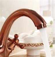 Robinet d'évier de salle de bain vintage + Tube Rose Gold, Mélangeur de robinet de lavabo d'eau de cuivre antique, robinet à double support rétro HotCold 109 V2