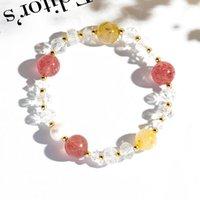 Link, Chain Bright Gold Moon Rutilated Quartz Bracelet