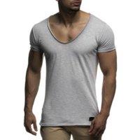 Прибытие Deep V-шеи с короткими рукавами мужская футболка Slim Fit Футболка Тонкая топ TEE вскользь летняя футболка KG-121