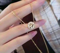 Di / d familie glücklicher achteckiger stern kompass diamant eingelegter weiss fritillaria clavicle kette frauen halskette net rot selben stil