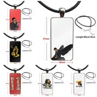 Pendant Necklaces Quavo Migos For Schoolgirl Maxi Necklace With Steel Plated Glass Cabochon Choker Long Rectangle