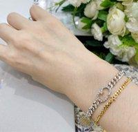 Wind D Famiglia Nuova lettera Star Star Catena di spessore in oro e argento Braccialetto a due colori Personalizzazione della moda delle donne