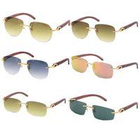 Großhandel Verkauf Frames Frauen Männer Samll Diamond 8300680 Sonnenbrille Holz Schnitzen Mode Brille Unisex Oval UV400 Objektiv Größe: 54-18-135mm