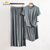 Pliktea 3 Parça Set Gri Ev Suit Kadınlar için ATOFF Ev Giysileri kadın Pijama Set Kadın Homewear takım Güz Bayanlar Pijama 210305