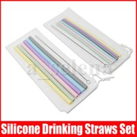 6 stücke Silikon Trinkhalme + 1 stück Pinsel + 1 Beutel Getränk Werkzeuge Wiederverwendbar Umweltfreundliche Bunte Silikon Stroh Für Home Bar Zubehör