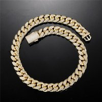 Chains HIP Hop 5A+ CZ Stone Paved Bling Iced Out 14mm Round Cuban Miami Link Chain Necklace For Men Rapper Jewelry Gold Silver Color