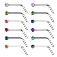 패션 L 자형 라운드 코 링 다이아몬드와 곡선 반지, 여러 가지 빛깔의 피어싱 바디 쥬얼리