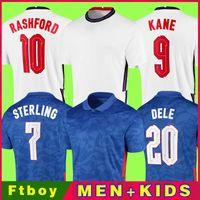 Inglaterra Soccer Jersey 2021 Casa Fora STERLING KANE Rashford SANCHO MOUNT ABRAHAM DELE TOP de Qualidade Crianças Kit Men 20 21 Football Shirt